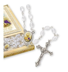 First Holy Communion Rosary Gift Set - Imitation Pearl and Booklet-Rosary Beads-Serenity Gifts