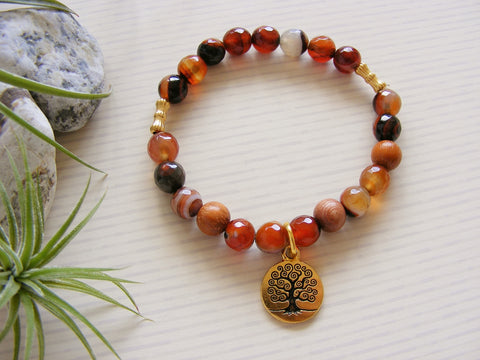 Dream Agate and Rosewood Energy Bracelet - Gold Tree of Life-Jewellery-Serenity Gifts