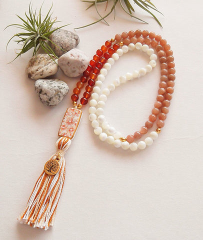 Handmade Mala Beads - Mother Of Pearl Tree Of Life-Mala Beads-Serenity Gifts