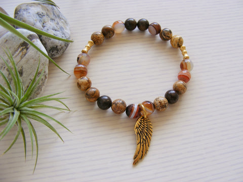 Gemstone Stretch Bracelet - Orange Sacral Chakra Angel Wing-Jewellery-Serenity Gifts