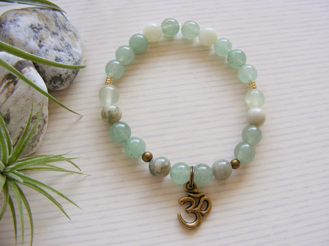 Gemstone Stretch Bracelet - Bronze Om Green Heart Chakra-Chakra Gifts-Serenity Gifts