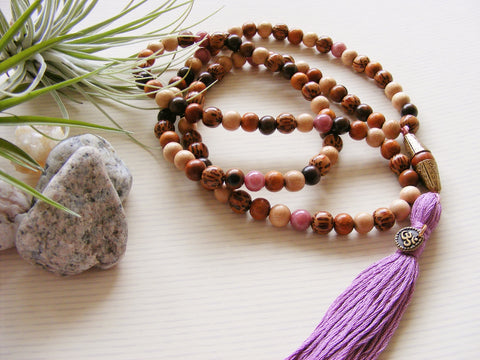 Handmade Mala Beads - Palmwood and Rhodonite - Om-Mala Beads-Serenity Gifts