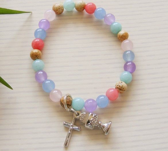 First Communion Handmade Bracelet - Pastel Mix-Holy Communion-Serenity Gifts