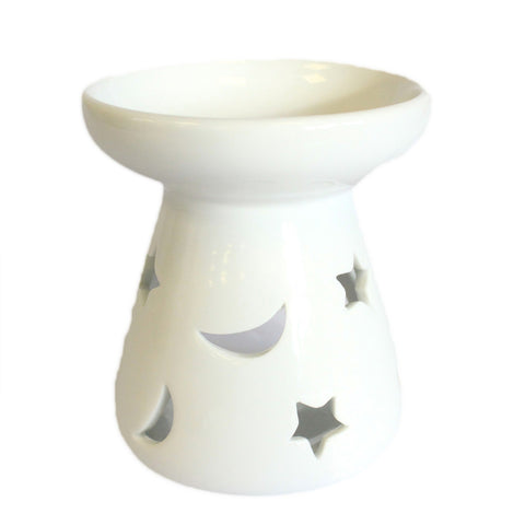 Ceramic White Oil Burner - Moon and Stars-Oil Burner-Serenity Gifts