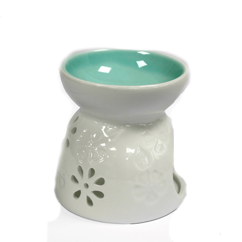 Ceramic White Oil Burner - Floral Design with Aqua Well-Oil Burner-Serenity Gifts