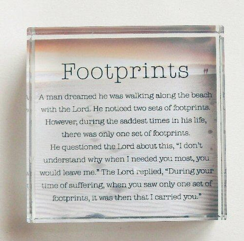 Footprints in The Sand - Glass Block Paperweight-Prayer Card-Serenity Gifts