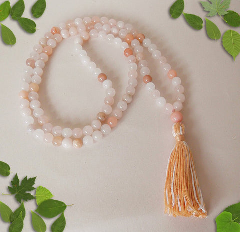 Handmade Mala Beads - Peach Aventurine and Sunstone-Mala Beads-Serenity Gifts