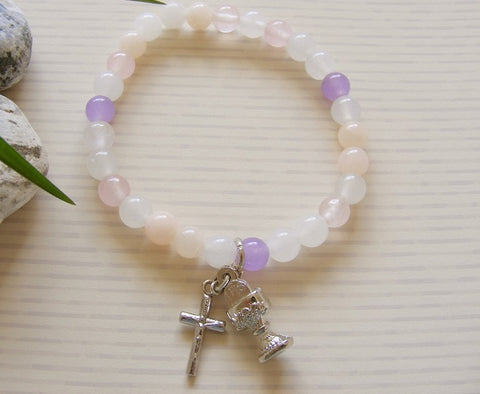 First Communion Handmade Bracelet - White Rose Quartz-Holy Communion-Serenity Gifts
