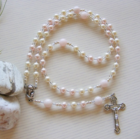 First Communion Handmade Rosary - Swarovski Pink Pearl-Jewellery-Serenity Gifts