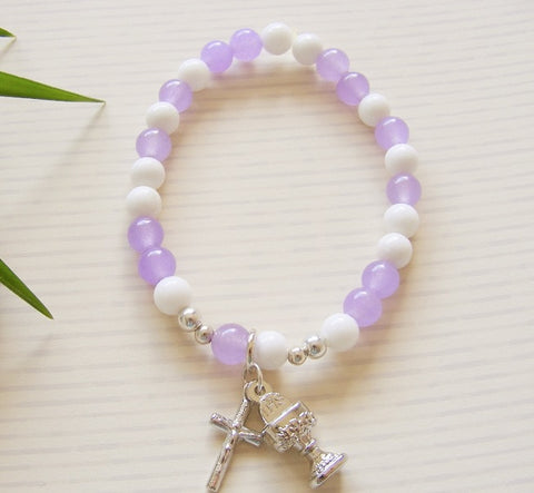 First Communion Handmade Bracelet - Purple White-Holy Communion-Serenity Gifts