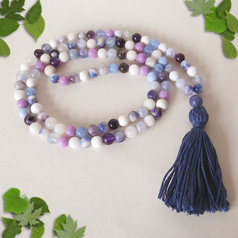 Handmade Mala Beads - Blue Lace Agate, Purple Banded Agate & Amethyst