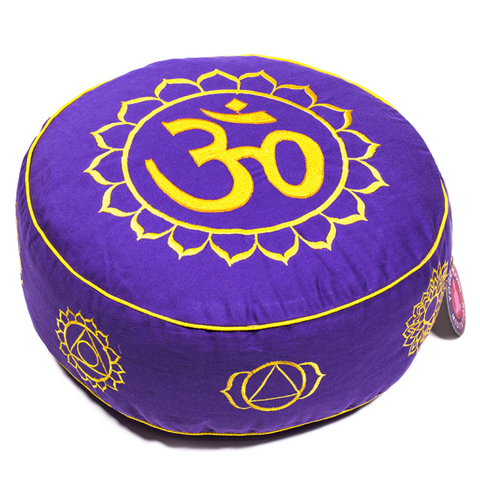Meditation Cushion - 7 Chakra Symbols Purple Yellow-Meditation-Serenity Gifts