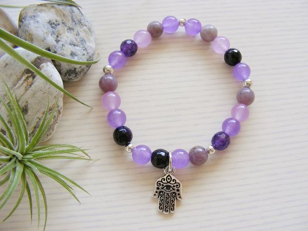 Gemstone Stretch Bracelet - Hamsa Hand Purple Third Eye Chakra-Chakra Gifts-Serenity Gifts