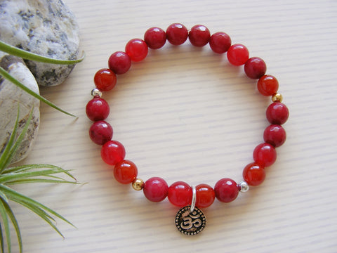 Gemstone Stretch Bracelet - Silver Om Red Root Chakra-Chakra Gifts-Serenity Gifts