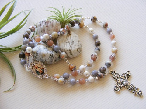 Handmade Rosary - Sunstone Lace Agate-Rosary Beads-Serenity Gifts