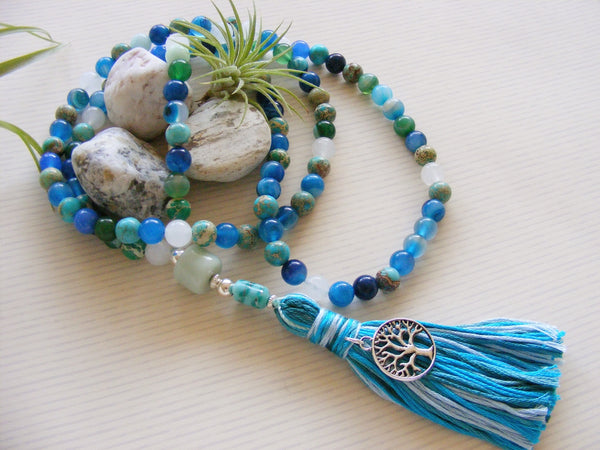 Handmade Mala Beads - Agate Sea Green Tree of Life-Mala Beads-Serenity Gifts