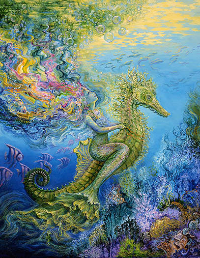 Birthday Greeting Card - Josephine Wall - Seahorse-Greeting Card-Serenity Gifts