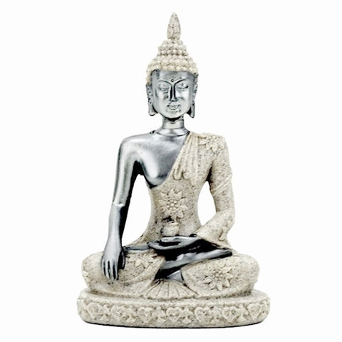 Buddha Statue - Silver and Stone-Figurine-Serenity Gifts