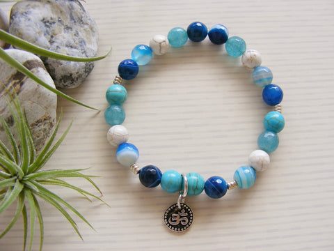 Blue Agate and Turquoise Stretch Bracelet - Om-Jewellery-Serenity Gifts