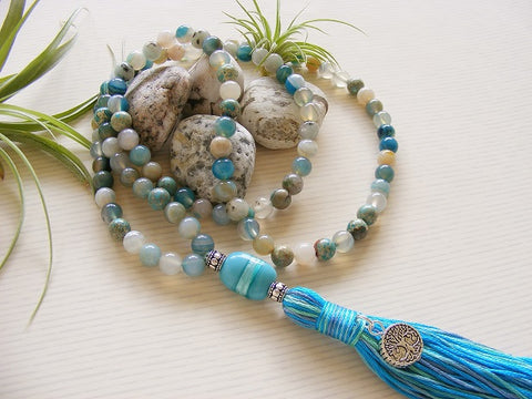 Handmade Mala Beads - Sea Jasper Tree of Life-Mala Beads-Serenity Gifts