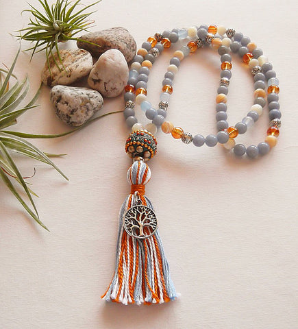Handmade Mala Beads - Angelite Tree Of Life-Mala Beads-Serenity Gifts