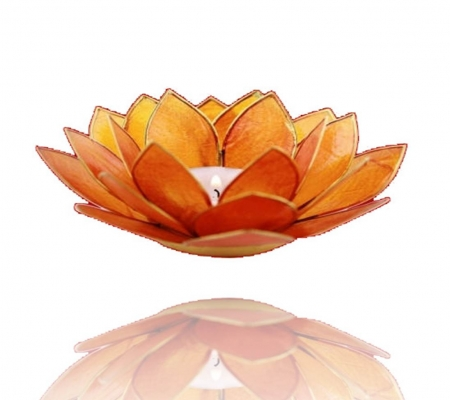 Lotus Flower Tea Light Holder - 2nd Chakra Orange-Tea Light Holder-Serenity Gifts