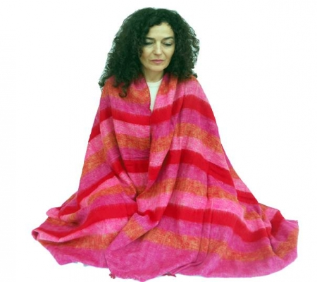 Meditation Blanket Yoga Wrap XL - Red Pink Orange Stripe-Meditation-Serenity Gifts