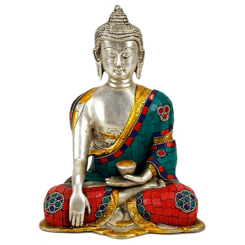 Shakyamuni Buddha with Mosaic Decoration-Figurine-Serenity Gifts