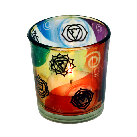 Tea Light Candle Holder - Chakra Symbols-Tea Light Holder-Serenity Gifts