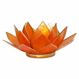 Lotus Flower Tea Light Holder - Orange-Tea Light Holder-Serenity Gifts