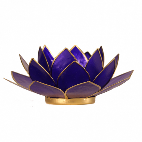 Lotus Flower Tea Light Holder - 6th Chakra Indigo-Tea Light Holder-Serenity Gifts