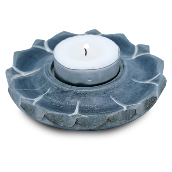 Soapstone Lotus Candle and Incense Holder - Grey-Incense-Serenity Gifts