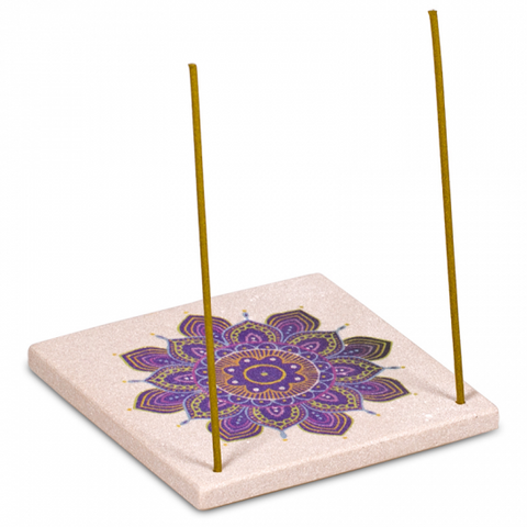 Sandstone Mandala Incense Holder / Burner - Purple Flower-Incense-Serenity Gifts