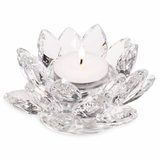 Tea Light Candle Holder - Crystal Glass Lotus Flower-Tea Light Holder-Serenity Gifts