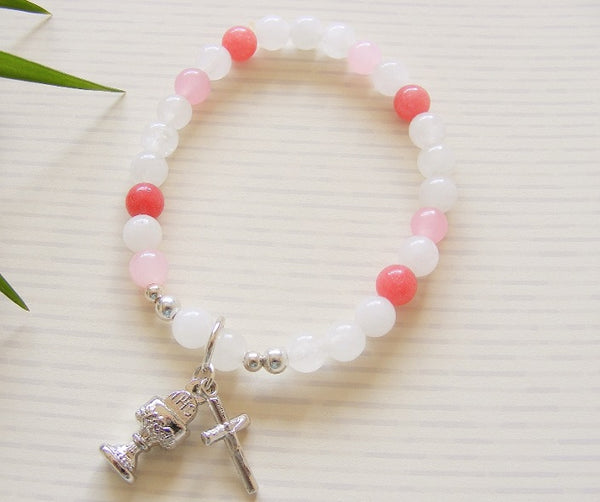 First Communion Handmade Bracelet - White Pink Jade-Holy Communion-Serenity Gifts
