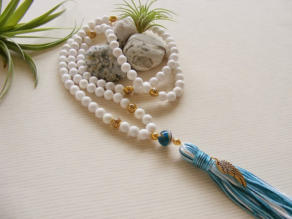 Handmade Mala Beads - White Jade Angel Wing Charm-Mala Beads-Serenity Gifts