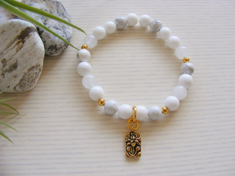 Gemstone Stretch Bracelet - Gold Lotus White Crown Chakra-Chakra Gifts-Serenity Gifts