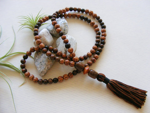 Handmade Mala Beads - Palmwood and Bayong Wood-Mala Beads-Serenity Gifts