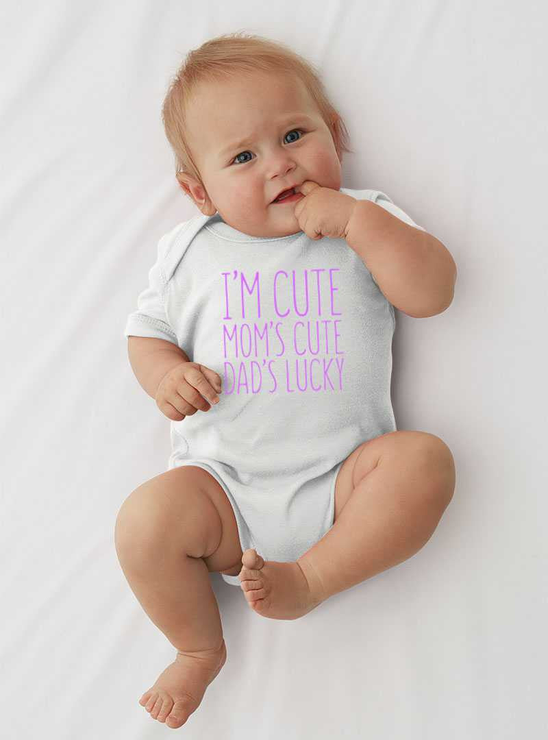 Lil Shirts  I'm Cute Dad's Luck Baby Bodysuit