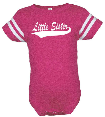 Lil Shirts Little Sister Vintage Football Baby Bodysuit