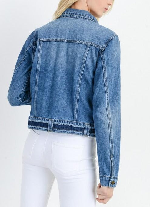 Denim Jacket Frayed Hem