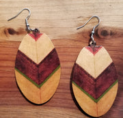 Oval wood earring
