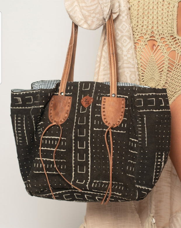 Tribal Print Hobo HandBag with Leather Straps
