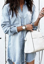 Distressed Denim Shirt Dress
