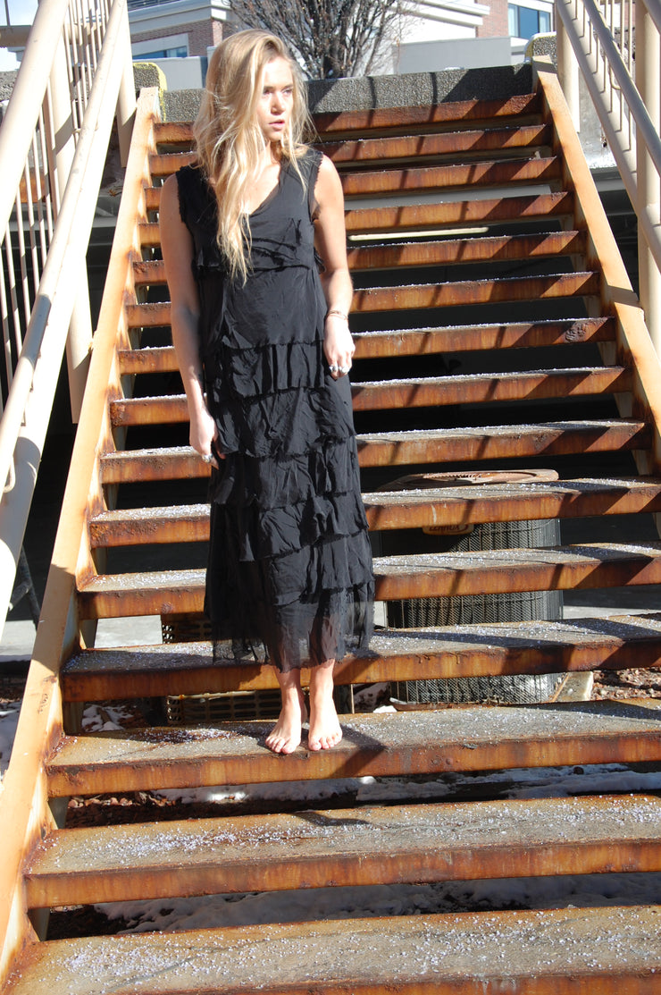 Silk Ruffle Maxi Dress