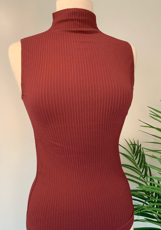 Scala Mock Neck Sleeveless Turtleneck Pullover
