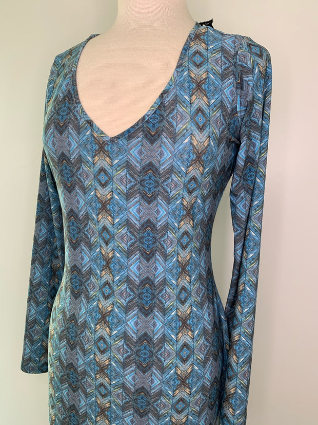 Blue Tile Print Dress