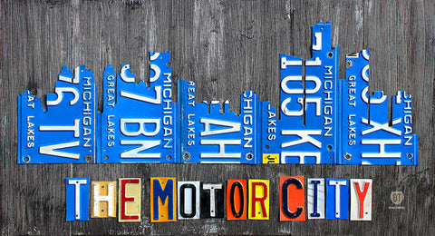 Detroit Skyline License Plate Art Print