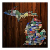 Michigan Counties License Plate Map Print