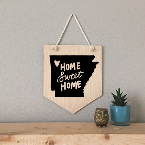 Arkansas Home Sweet Home Wood Pennant Sign - [product type] - Hen Pen Paper Co